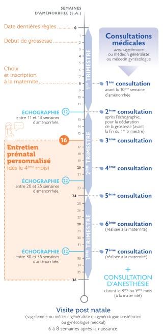 Calendrier Personnalise Grossesse.Entretien Prenatal Precoce